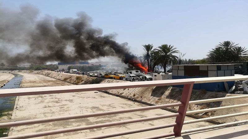 حريق بمستودع السيارات المستعملة بسوسة