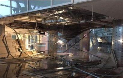 سقوط جزء من سقف مطار النفيضة بسبب الأمطار